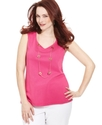 Plus Size Top, Sleeveless V-Neck Tank