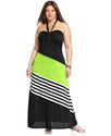 Plus Size Dress, Halter Striped Colorblocked Maxi