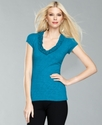 Top, Cap-Sleeve Ruffle V-Neck