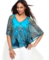 Top, Batwing-Sleeve Paisley-Print