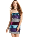 Juniors Dress, Strapless Striped Sequin