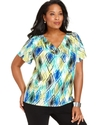 Plus Size Top, Short-Sleeve Printed Chain Cowl-Nec