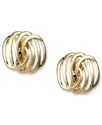 Earrings, Worn Gold-Tone Open Weave Clip On Earrin