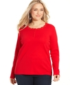 Signature Plus Size Top, Long-Sleeve Lace Henley