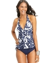 Swimsuit, Halter Printed Tiered-Ruffle Tankini Top