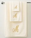 Avanti Bath Towels, Initial Script Ivory and Gold 