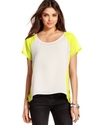Juniors Top, Short Sleeve Colorblock Raglan