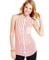 Juniors Top, Sleeveless Striped Button-Down