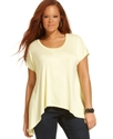 Plus Size Top, Short-Sleeve Handkerchief Hem