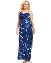 Xscape Plus Size Dress, Sleeveless Beaded Printed 
