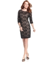 Dress, Three-Quarter-Sleeve Lace Sequined Cocktail