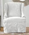 Slipcovers, Matelasse Damask Wing Chair Bedding