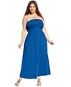 Plus Size Dress, Strapless Ruffled Maxi