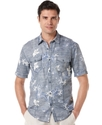 Big and Tall Shirt, Linen Blend Short Sleeve Flora