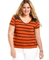 Plus Size Top, Short-Sleeve Striped High-Low