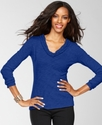 Top, Long-Sleeve V-Neck Ruffle-Trim