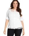 Plus Size Top, Short-Sleeve Lace Ruffled Blouse