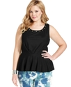 Plus Size Top, Sleeveless Studded Peplulm