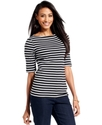 Top, Short-Sleeve Pima Cotton Boat-Neck Striped