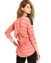 Juniors Top, Long Sleeve Striped Studded Knit