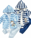 Baby Set, Baby Boys Stripe Hoodie, Bodysuit, and S