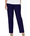 Plus Size Pants, Pull On Straight Leg, Navy