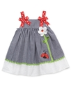 Baby Dress, Baby Girls Gingham Flower Ladybug Dres