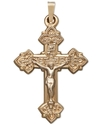 14k Gold Pendant, Scroll Cross