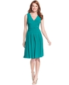 Dress, Sleeveless Ruched Pleated