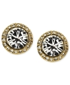 Earrings, Gold-Tone Swarovski Element Button Earri