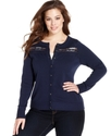 Plus Size Sweater, Long-Sleeve Lace-Inset Cardigan