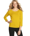 Sweater, Three-Quarter-Sleeve Silk-Blend Scoop-Nec