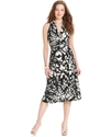 Dress, Sleeveless Floral-Print Ruched