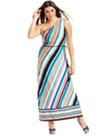 Plus Size Dress, One-Shoulder Striped Belted Maxi
