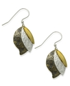 Bronze Earrings, Textured Three-Leaf Drop Earrings