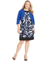 Plus Size Dress and Jacket, Sleeveless Printed Shi