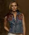 Jacket, Sleeveless Embroidered Denim Vest
