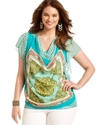 Plus Size Top, Short-Sleeve Printed Drape-Neck