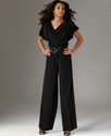 Tall Jumpsuit, Short-Sleeve Cowl-Neck Wide-Leg