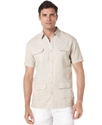 Shirt, Linen-Blend Short Sleeve Embroidered Panel 