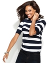Sweater, Short-Sleeve Ruched Striped