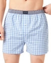 Men's Underwear, Blue Check Woven Boxer Single Pac