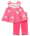 Baby Set, Baby Girls Flower Applique Top and Leggi