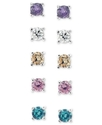 Sterling Silver Earring Set, Multicolor Cubic Zirc