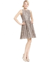 Petite Dress, Sleeveless Belted Metallic Lace A-Li