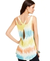 Juniors Top, Sleeveless Tie-Dye High-Low