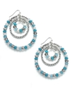Earrings, Silver-Tone Blue Bead Triple Hoop Drop E