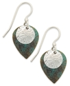 Patina Bronze Earrings, Blue Drop Earrings
