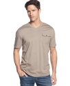 Shirt, Canvas Trim V-Neck T-Shirt