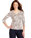 Petite Top, Three-Quarter-Sleeve Animal-Print Henl